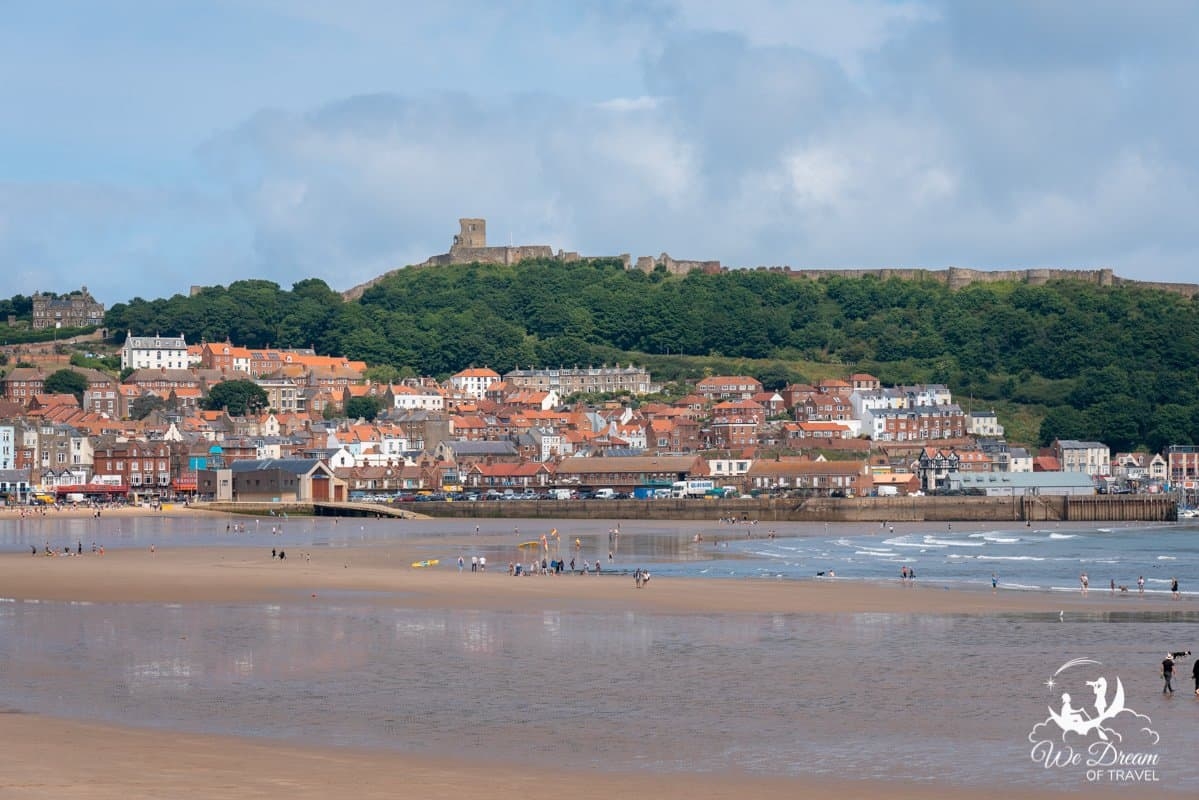 South Bay Beach at Scarborough with Scarborough Castle in the background.