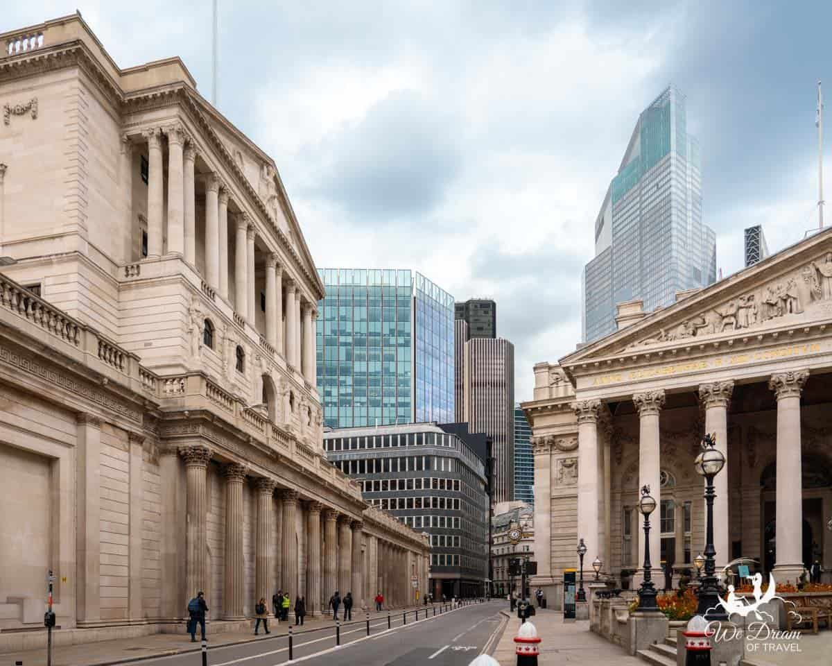 Looking down Threadneedle Street with the Bank of England on the left and The Royal Exchange on the right.