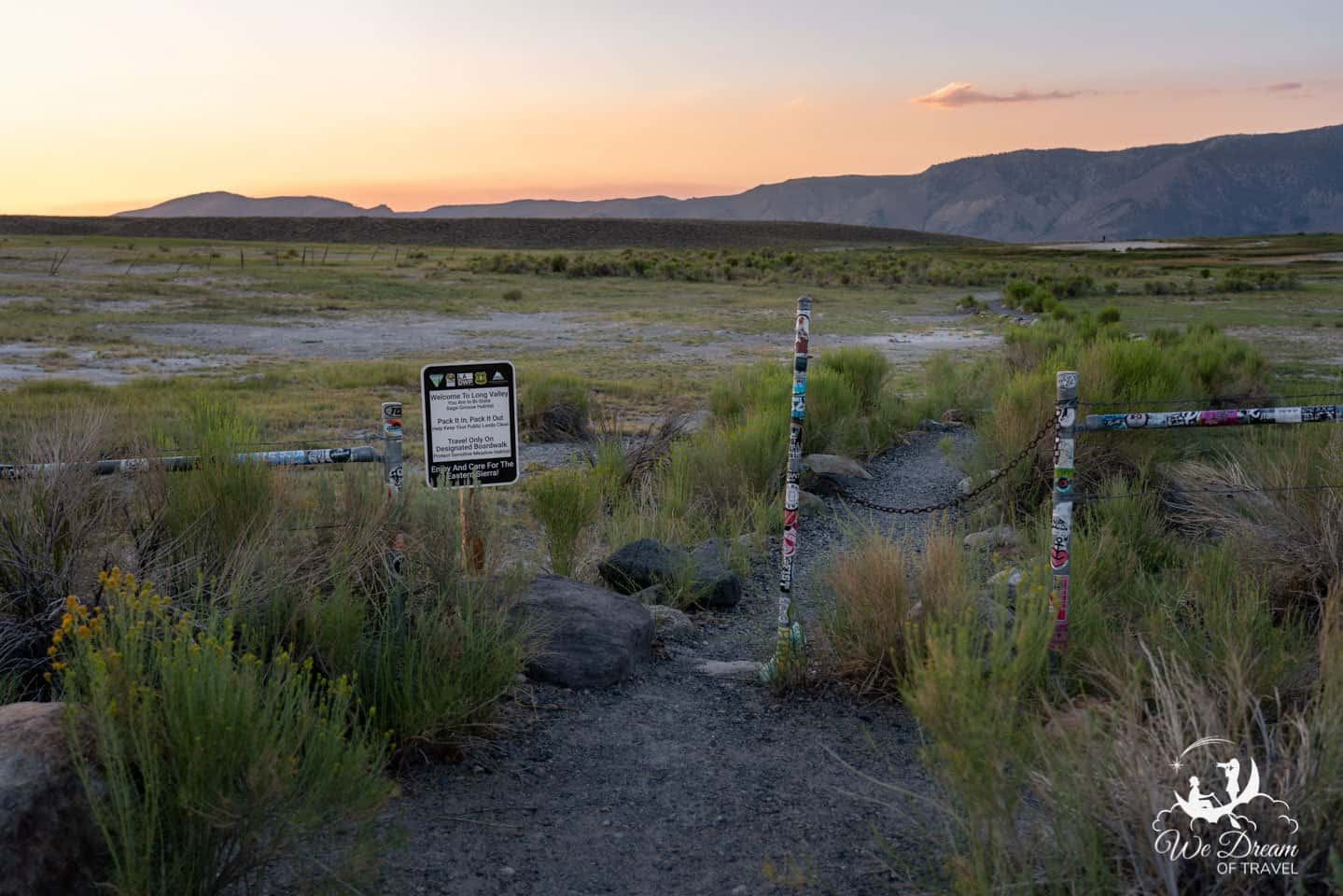 Start of the trail for Hilltop Hot Springs Mammoth Lakes