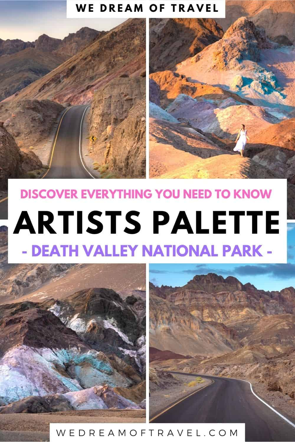 Artists Palette is one of the most spectacular landscapes in Death Valley.  Located on the 9 mile Artists Drive, its dazzling array of colors are a stunning sight to see!  Find out everything you need for visiting Artists Palette in this complete guide.