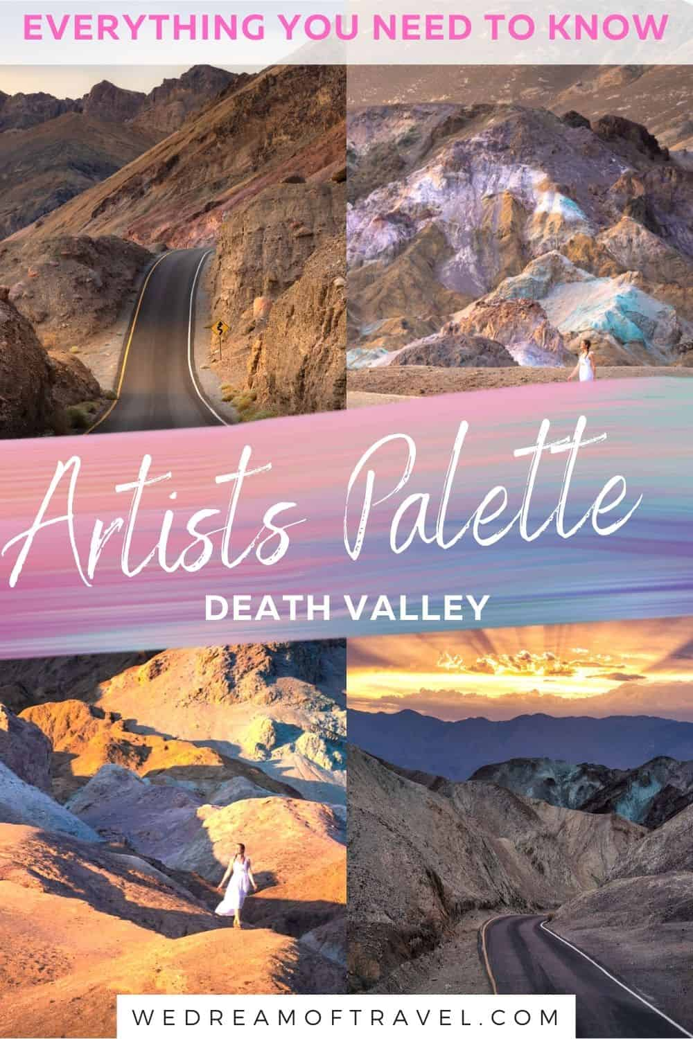 Discover the most beautiful part of Death Valley; Artists Palette.  With a spectacular kaleidoscopic array of colors, this otherworldly scene is a true highlight in Death Valley.  Discover everything you need to know about the 9 mile Artists Drive.