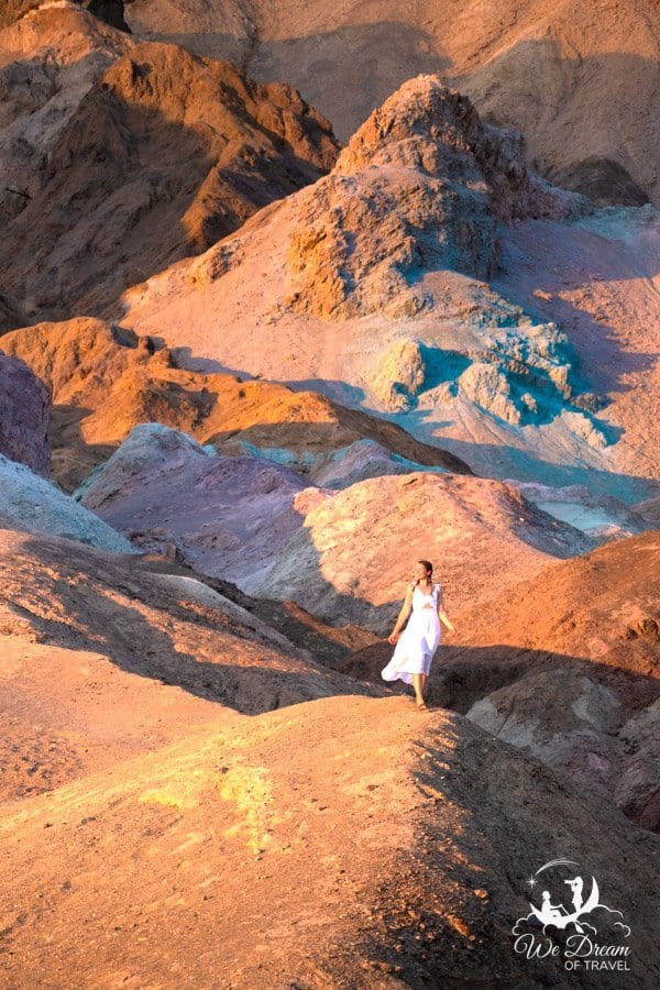 Standing amongst the vibrant colors of Artists Palette in Death Valley National Park.