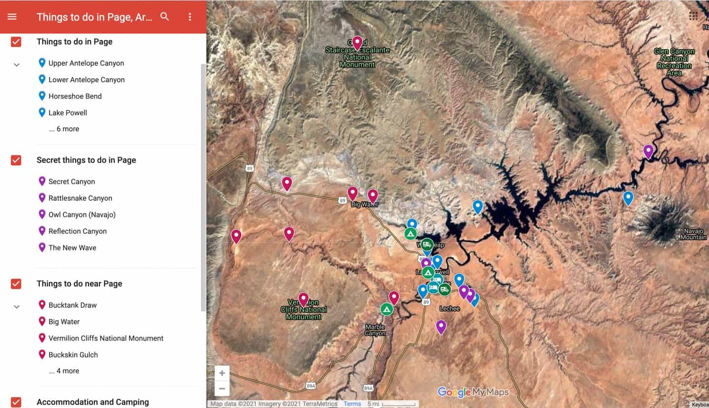 Best things to do in Page, AZ map