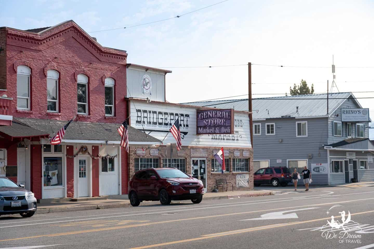 The historic town of Bridgeport, California.