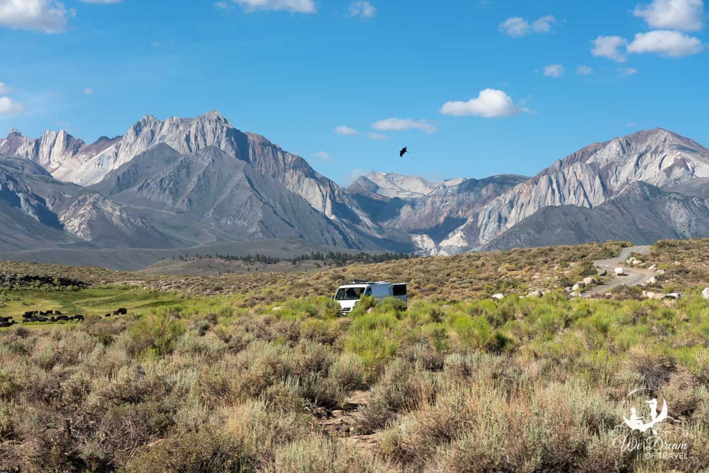 There are ample places with incredible views for dispersed camping near the Mammoth Lakes hot springs.