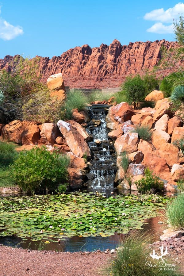 A small city waterfall in St George Utah
