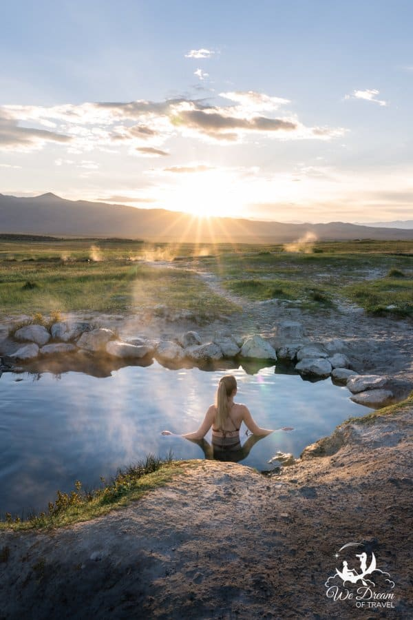 Watching the sunrise from Wild Willys hot spring on a warm summer morning.