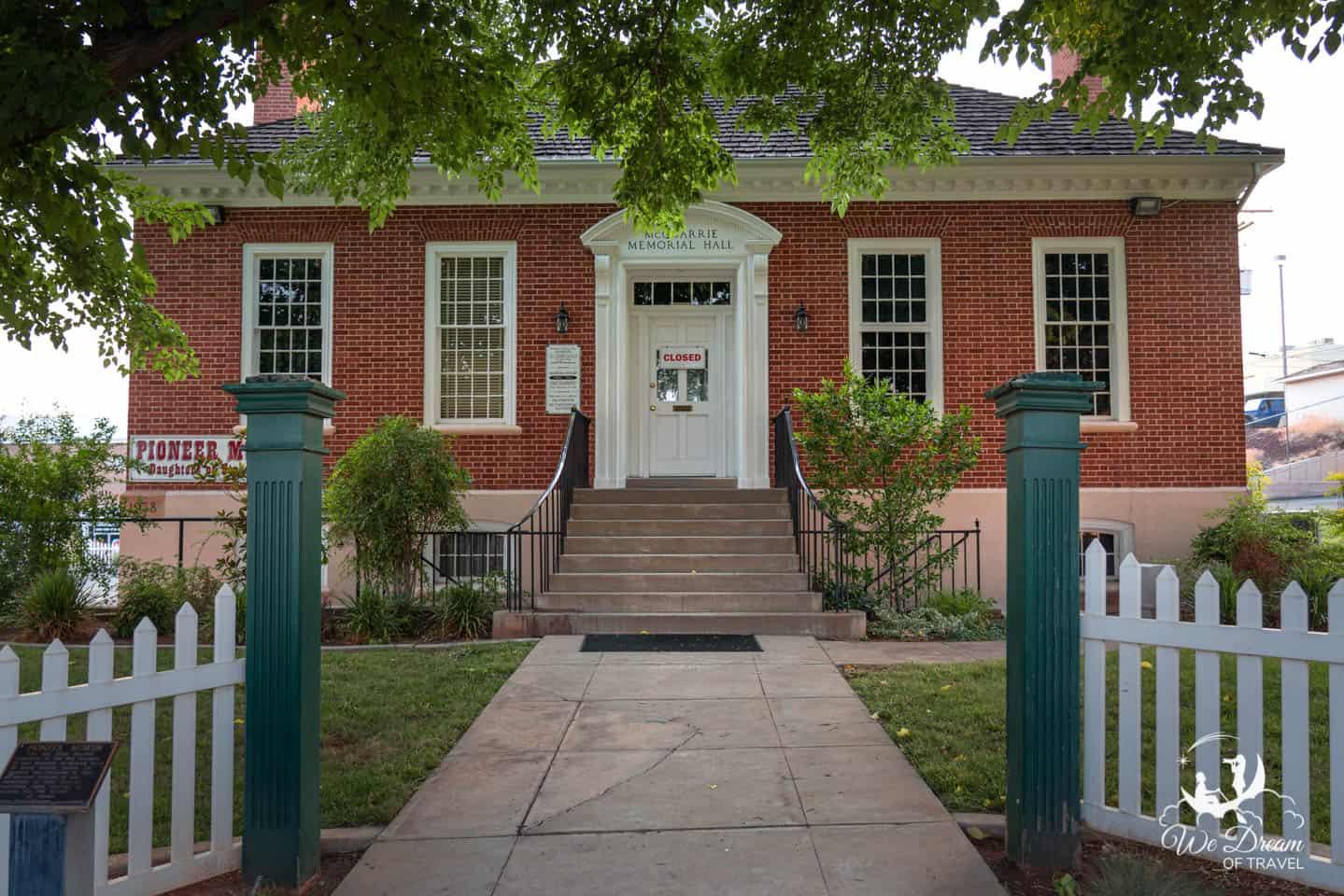 Entrance to the Daughters of the Utah Pioneers Museum in St George Utah