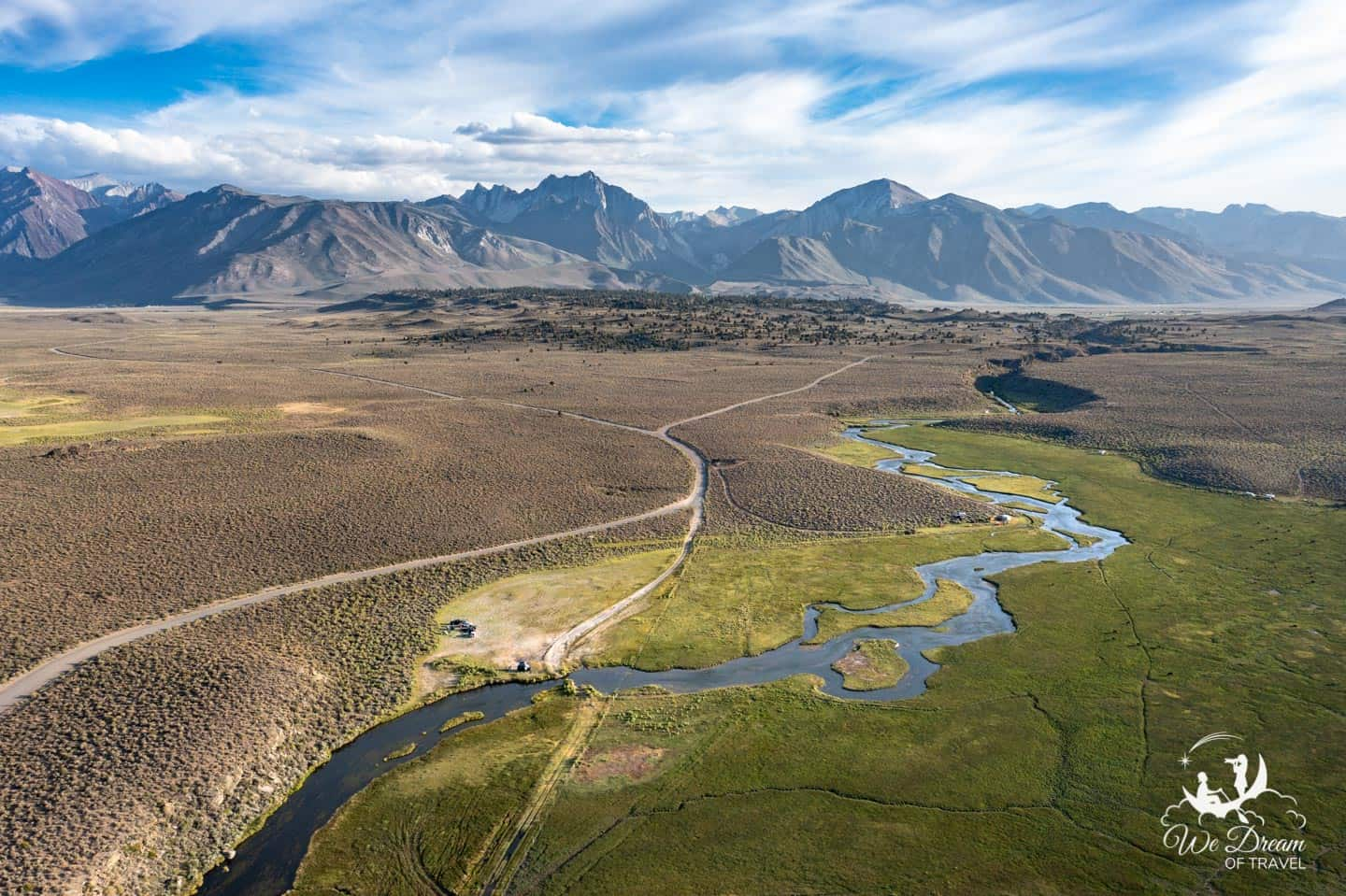 One of many snaking creeks in the Whitmore Hot Springs surrounded by the Eastern Sierra Nevada mountain range.