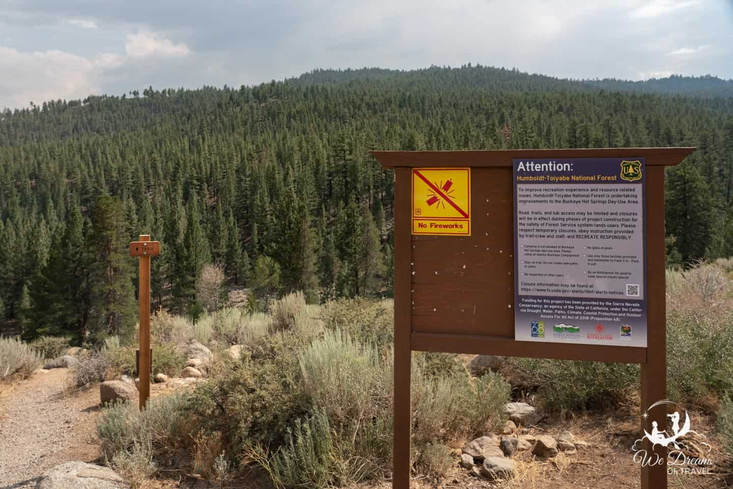 Entrance sign for the springs and trail.