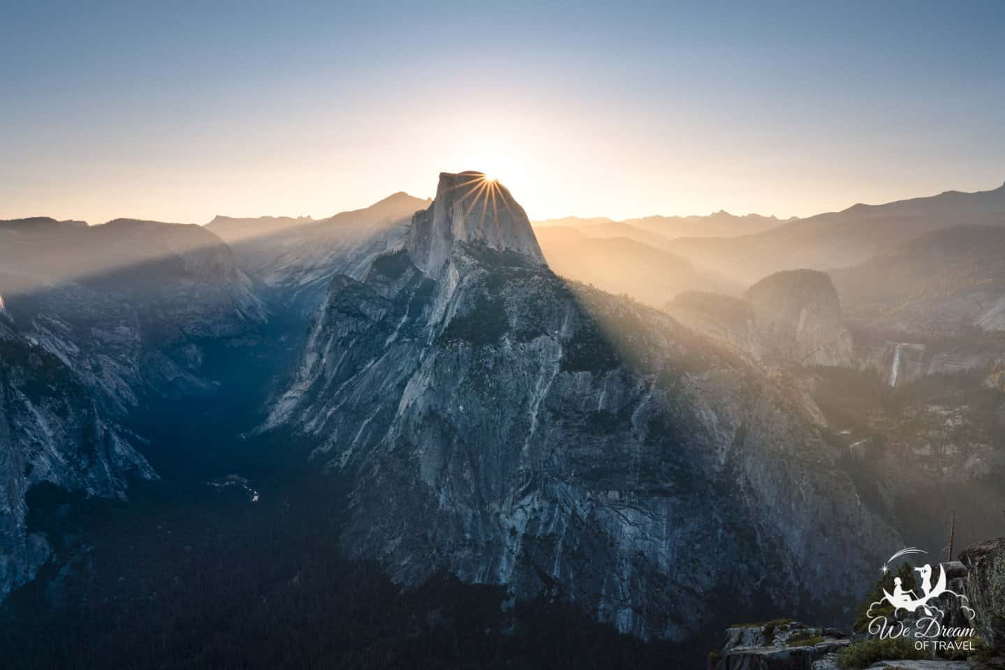 Begin your second day in Yosemite National Park with an unbeatable sunrise view at Glacier Point.