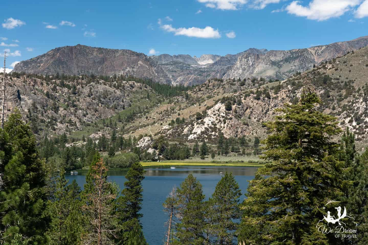 Gull Lake and breathtaking views of mountainside lagoons on the June Lakes Loop drive.