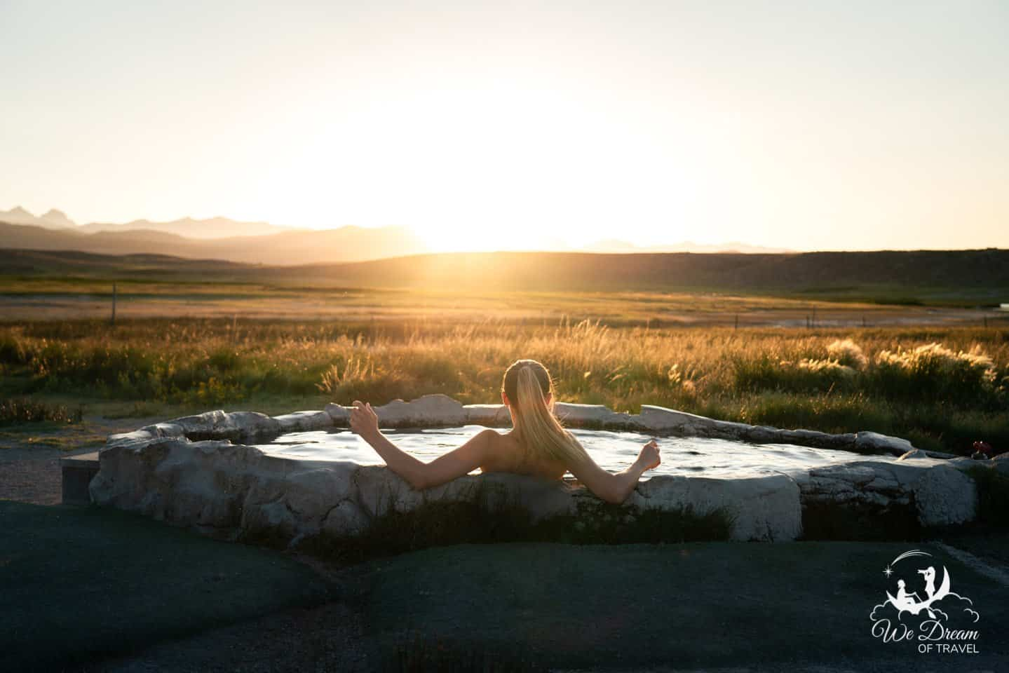 Enjoying the sunset from the scenic Hilltop Hot Spring, California.