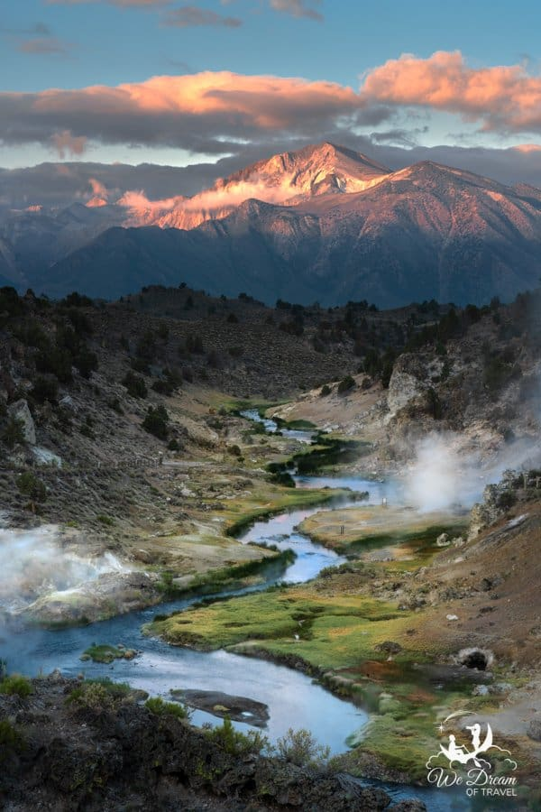 Sunrise at Hot Creek Geological Site is a must-see while exploring the hot springs in Mammoth Lakes.
