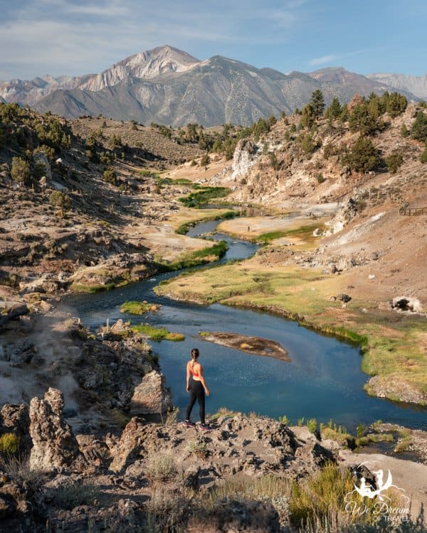 Enjoy a hike and some impressive overlooks, but do not bathe in the water at Geological Hot Creek!