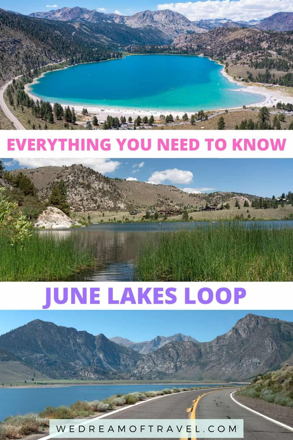 Explore the June Lakes Loop scenic drive and discover fresh mountain air, impossibly blue lakes, mountain hikes, sandy beaches, skiing and more.