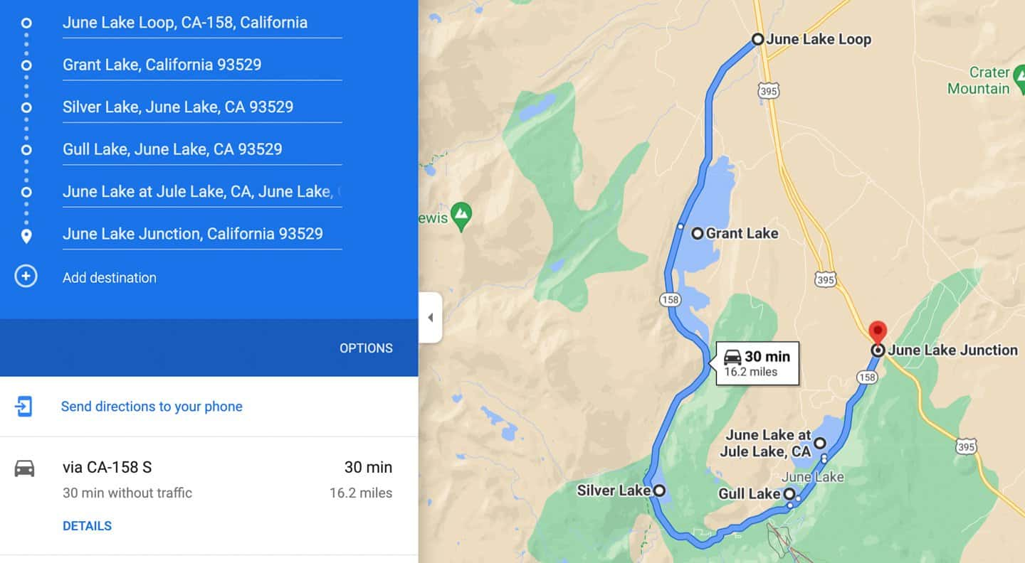 Map of the driving route for June Lake Loop scenic drive.