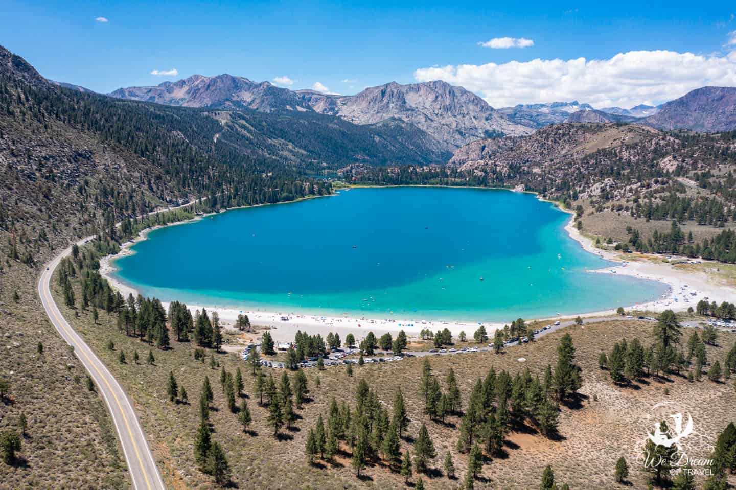 June Lakes Loop drone photography featuring June Lake Beach from above.