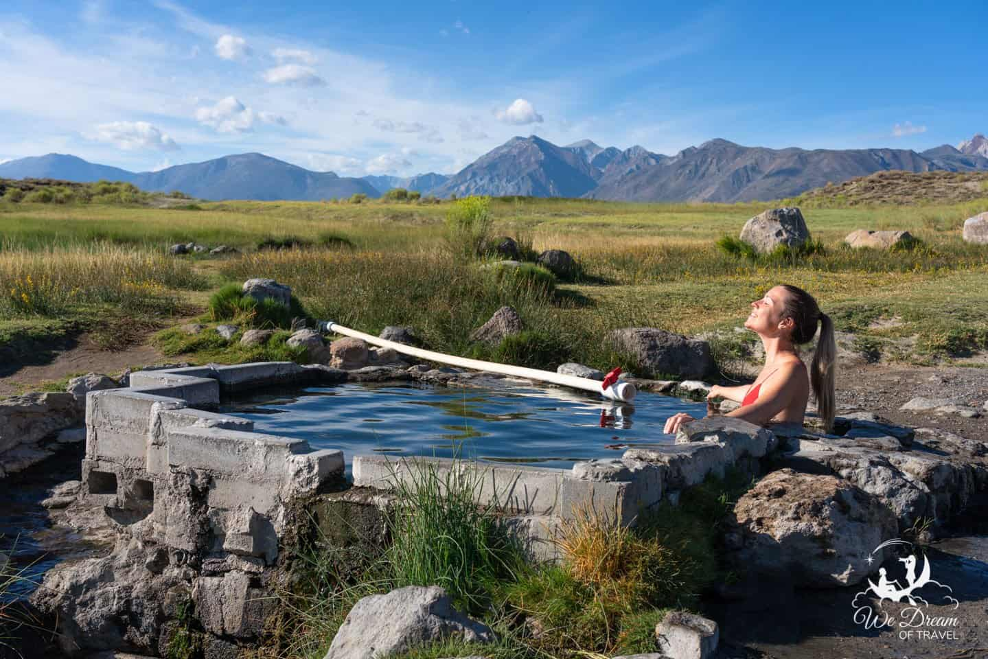 Embracing the warmth of Shepherd Hot Spring; the smallest and quietest of the hot springs in Mammoth Lakes.