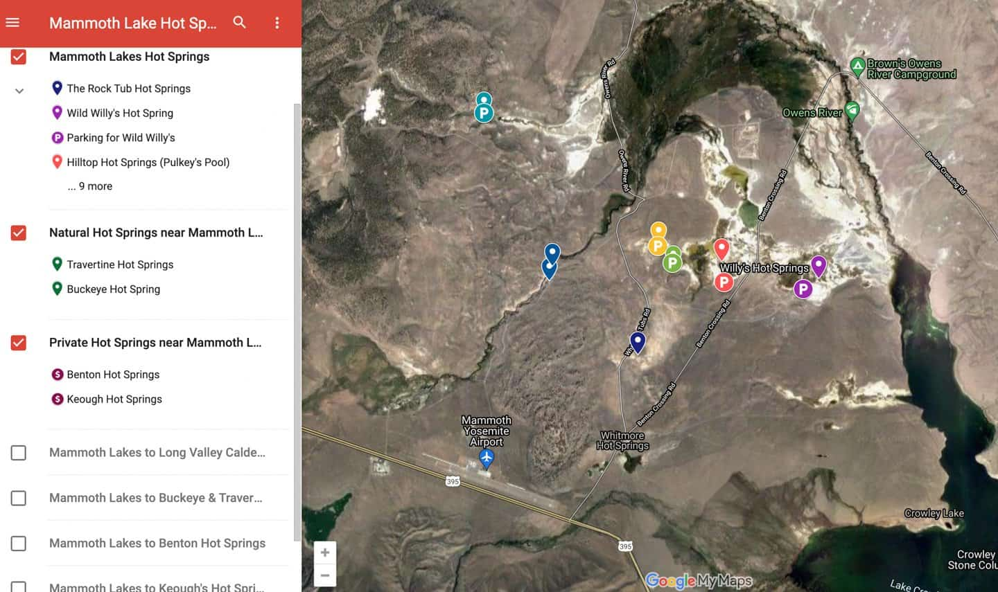 Hot springs in Mammoth Lakes map.
