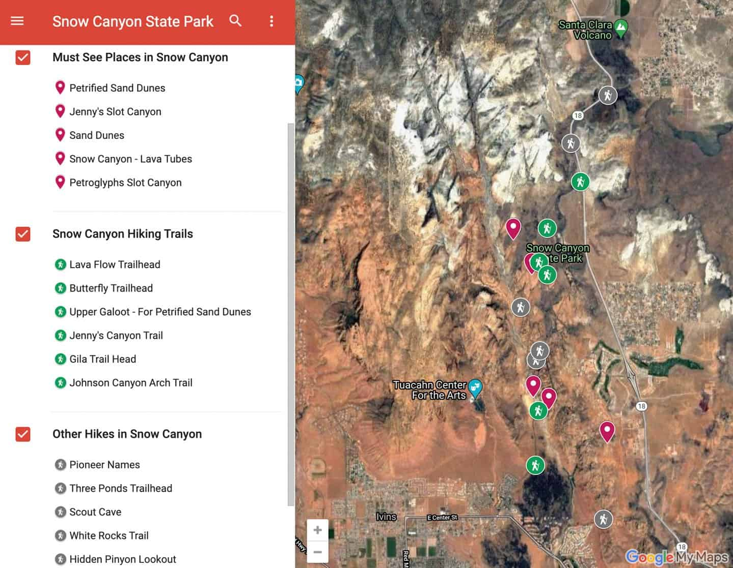 Map of Snow Canyon State Park Utah