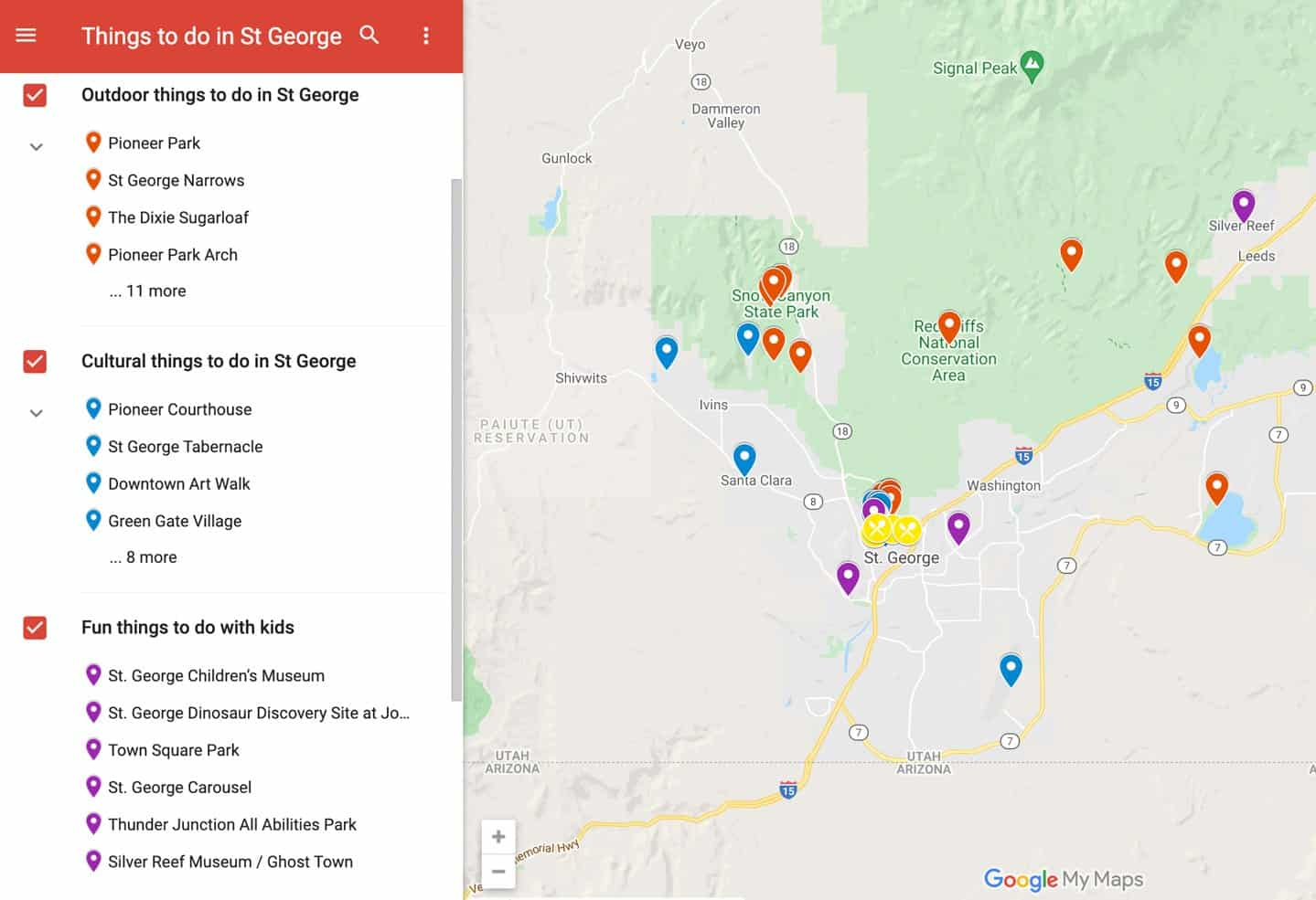Map of all the best things to do in St George.