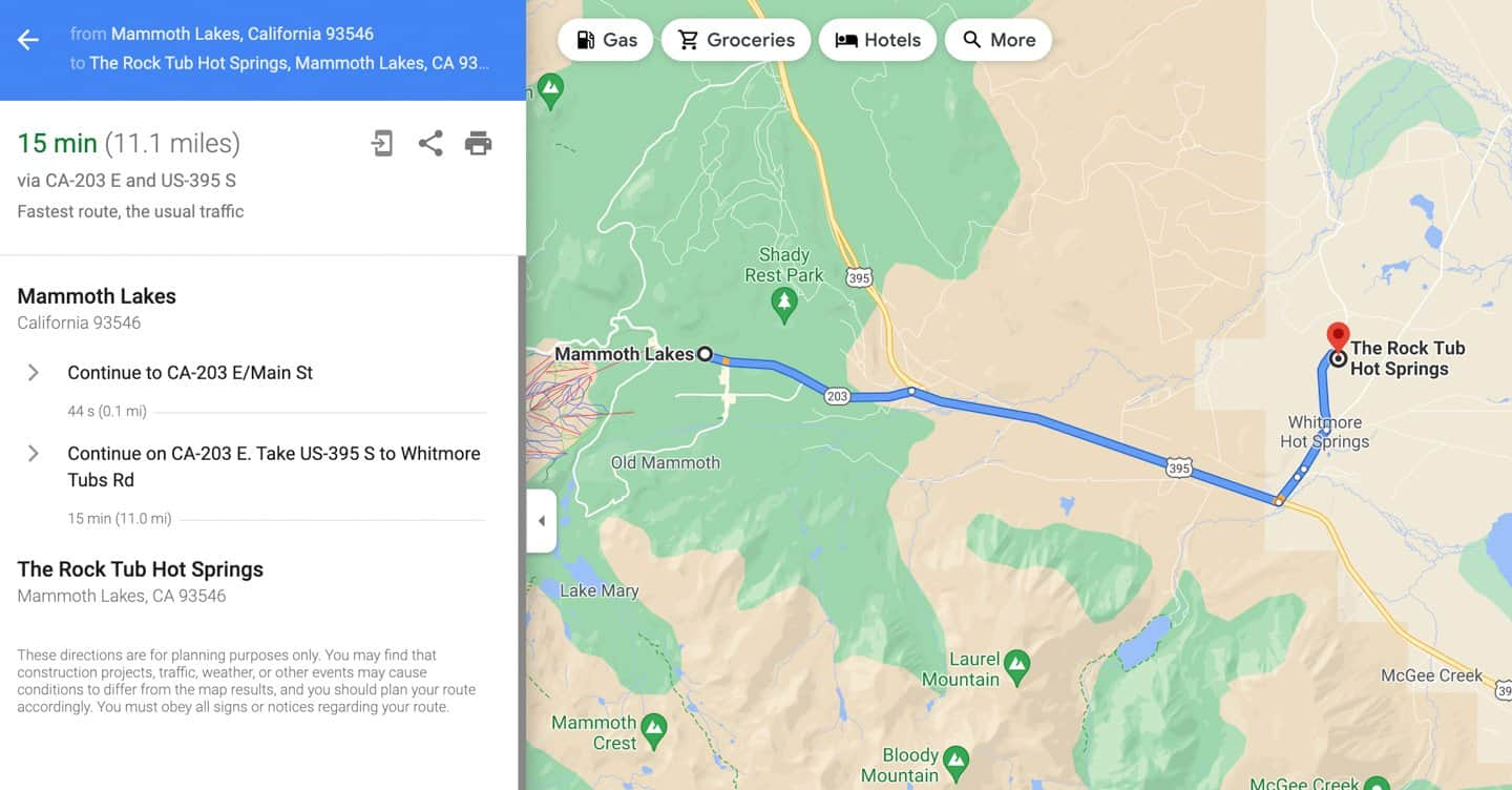 Driving directions to Rock Tub Hot Springs from Mammoth Lakes.