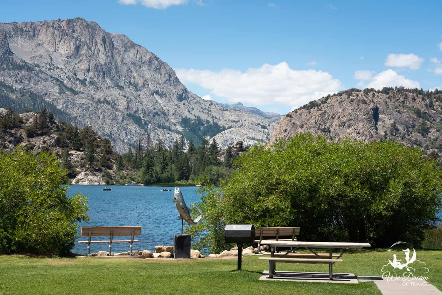 The town of June Lakes has all amenities you might expect, including a picturesque park to enjoy a summer afternoon picnic.