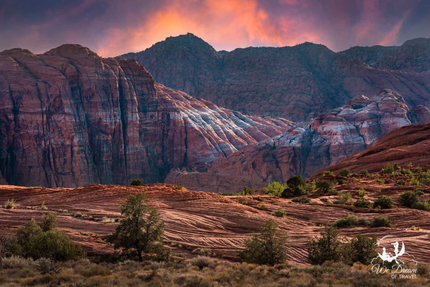 Snow Canyon State Park sunset photography featuring the Petrified Sand Dunes near St George.