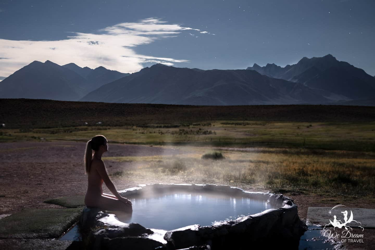 Clothing is optional at the Mammoth hot springs, as seen in this night photo at Pulkeys Pool.