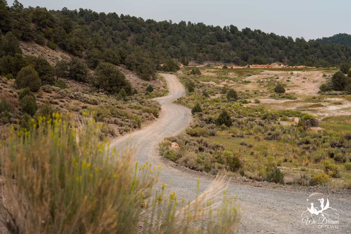 The dirt road to Travertine Hot Springs.