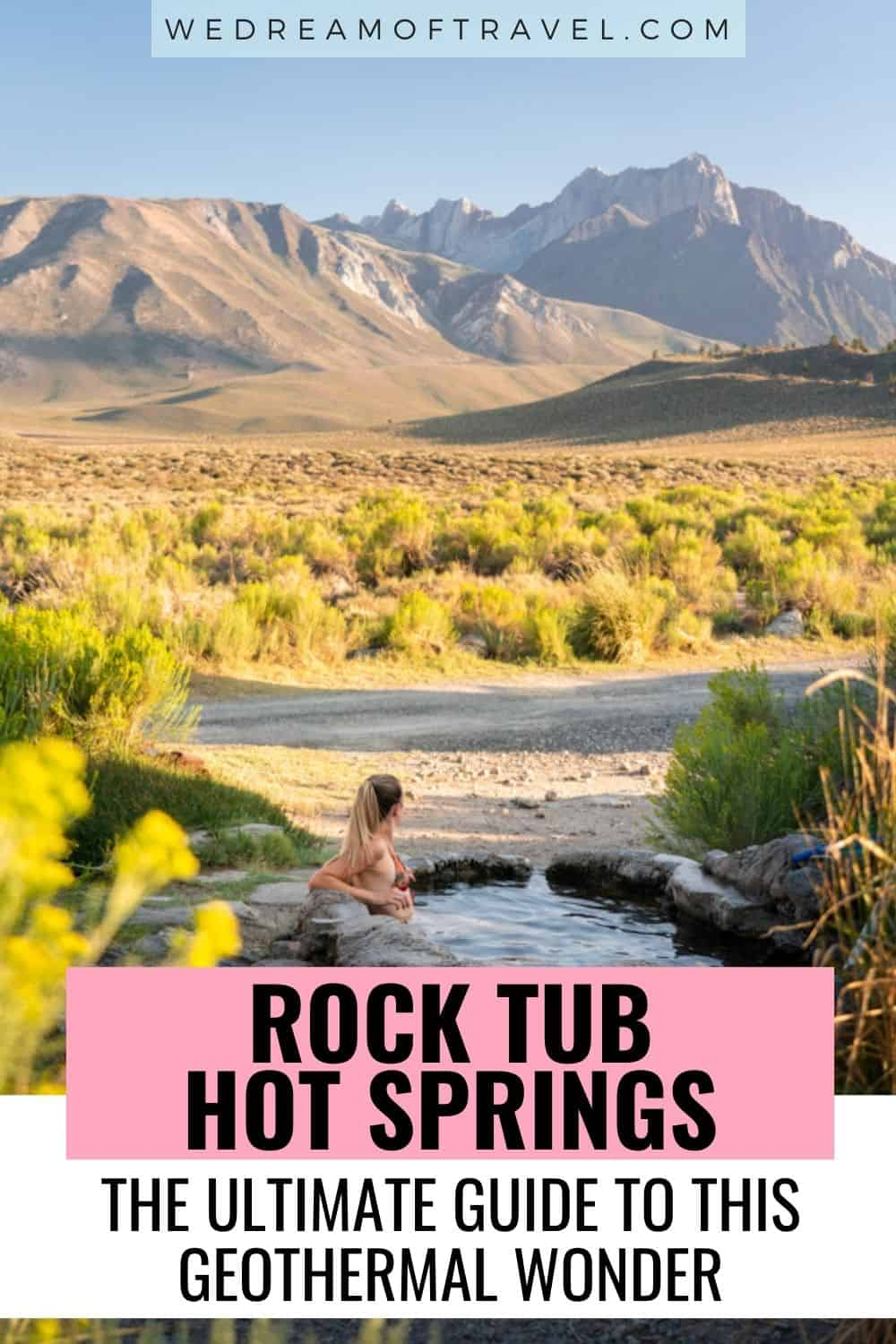 Rock Tub Hot Springs is a geothermally heated pool  just a short drive from Mammoth Lakes.  Soak away aching muscles in the hot mineral water while enjoying views of the rugged Sierra Nevada Mountains.  Mammoth Lakes | Hot Springs | Hot Springs in Mammoth Lakes | California | California Travel