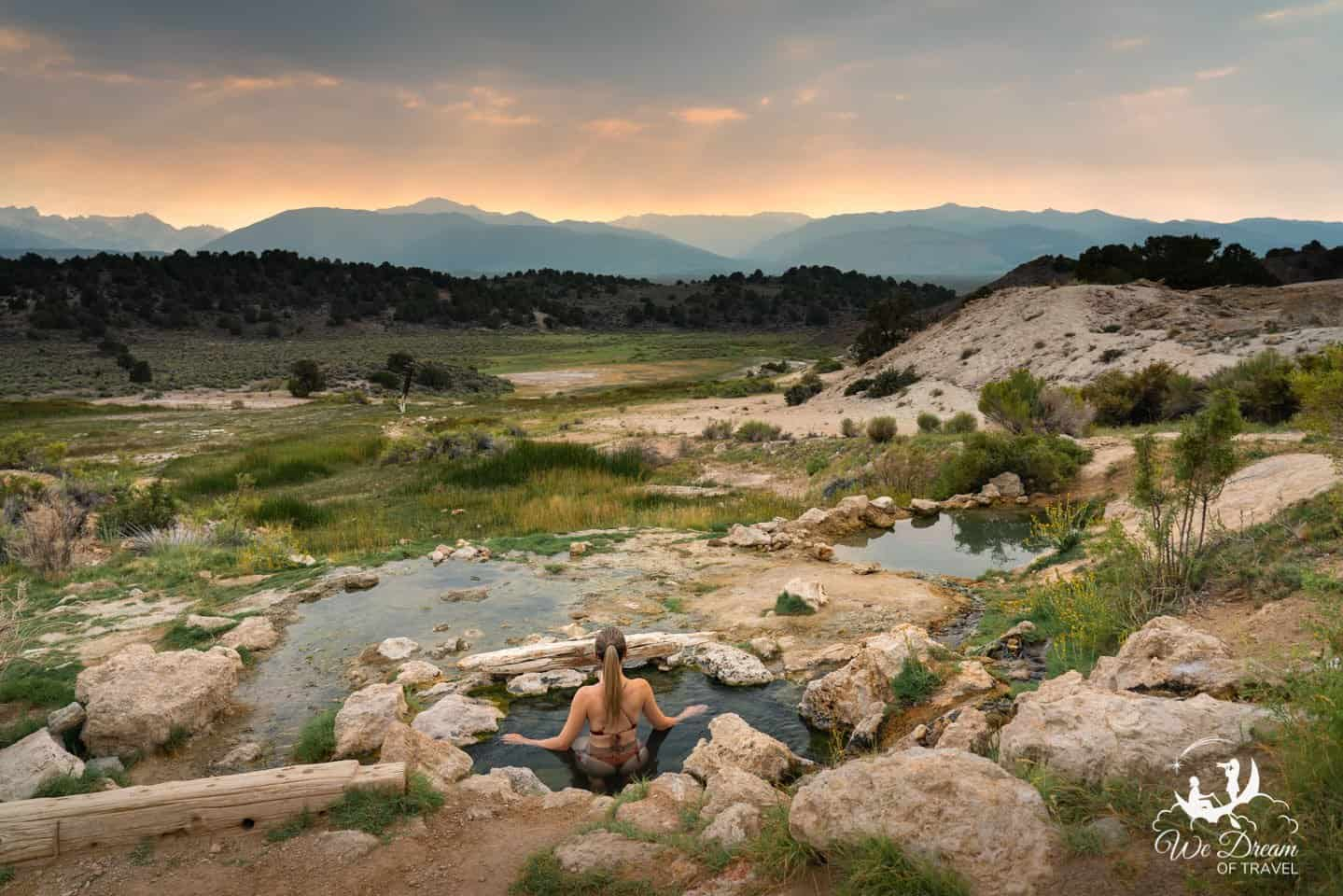Secret hot springs at sunset at Travertine Hot Springs.