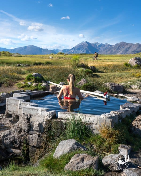Soaking in the Shepherd Hot Springs near Mammoth Lakes on a summer morning.