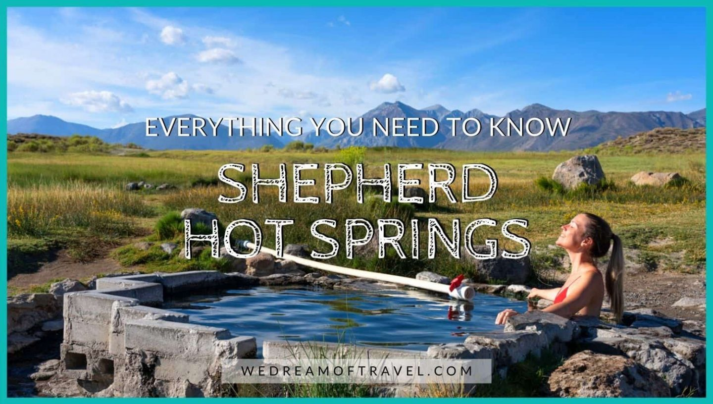 Shepherd Hot Springs blog cover photo.  Text overlaying an image of a girl soaking in a hot spring with mountain views behind.
