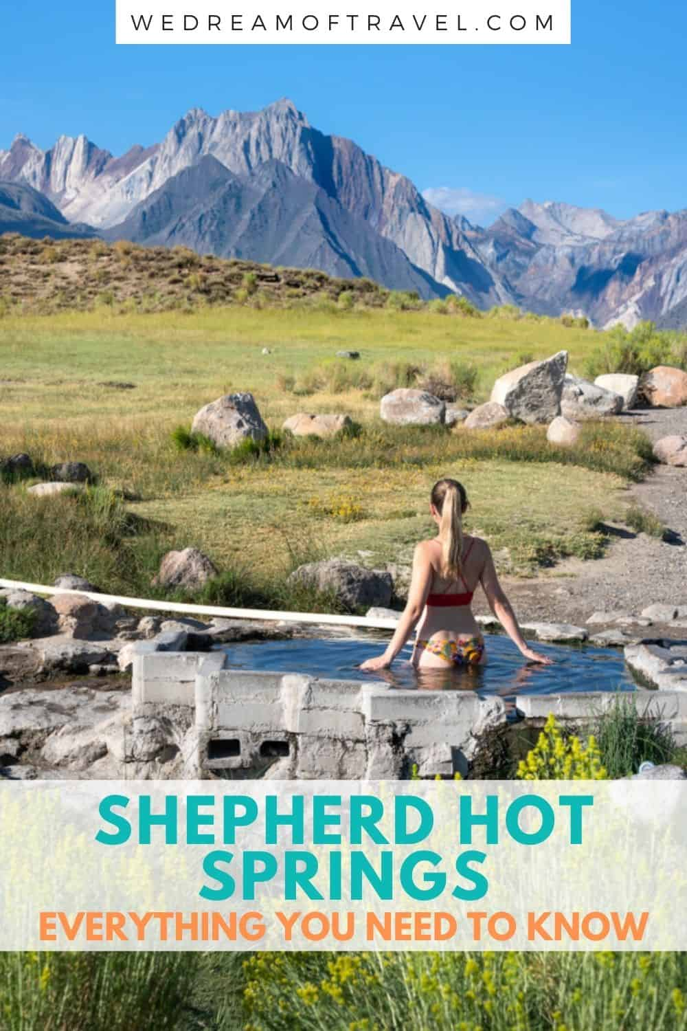 Shepherd Hot Springs is one of many natural hot springs in Mammoth Lakes.  It boasts spectacular views of the Sierra Mountains over a lush meadow.  Soak in naturally heated mineral water as you take in these postcard worthy views.  Discover everything you need to know about finding Shepherd Hot Springs, including the best time to visit and how to help protect these natural areas.