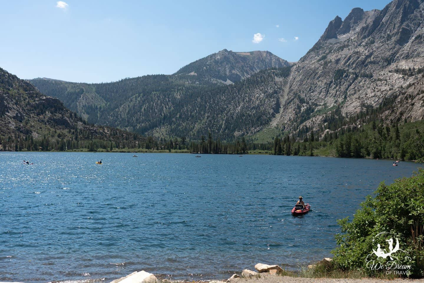 Kayakers flock to Silver Lake for a day on the water with breathtaking views of the Sierras.