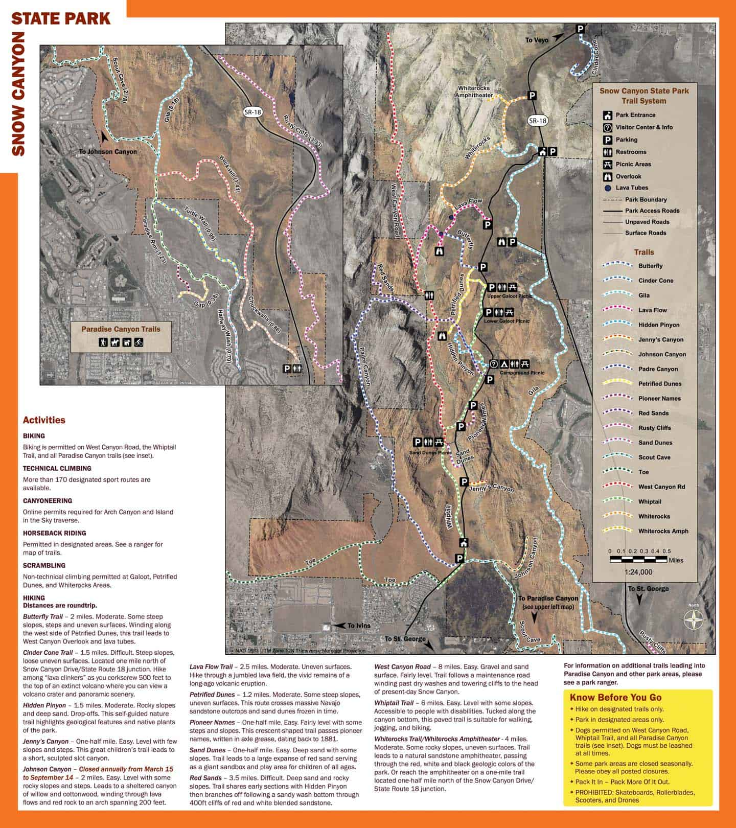Snow Canyon State Park trail map