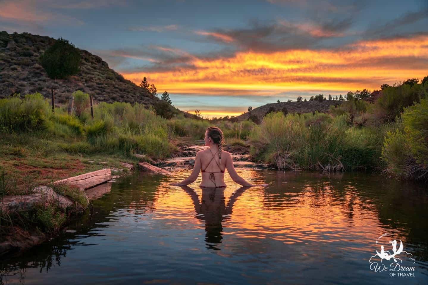 Fiery sunset from Little Hot Creek near Mammoth Hot Springs.