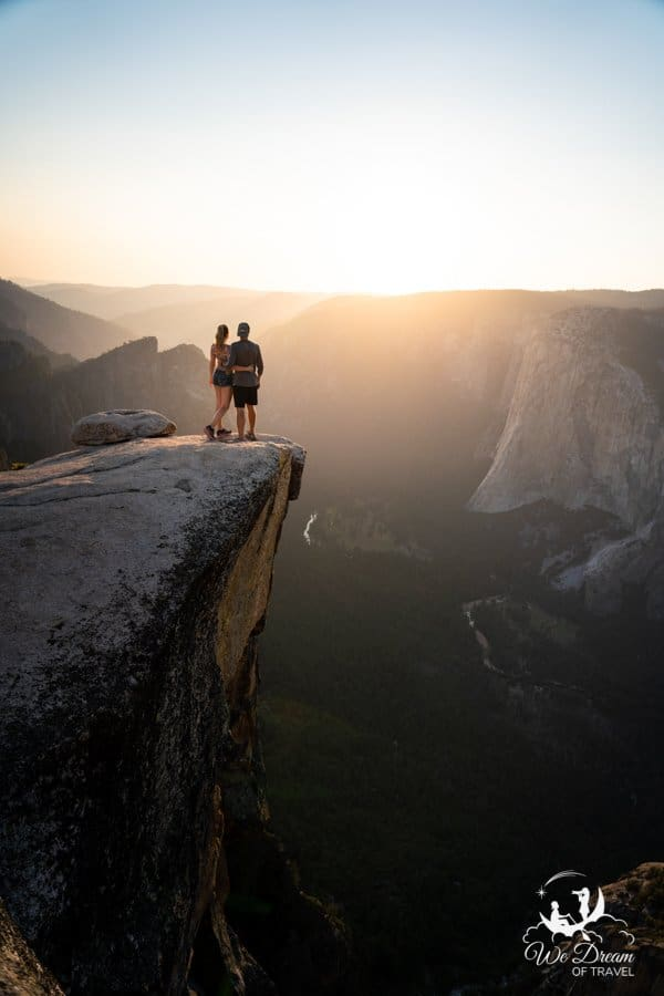 The two day Yosemite itinerary ends with sunset from Taft Point.