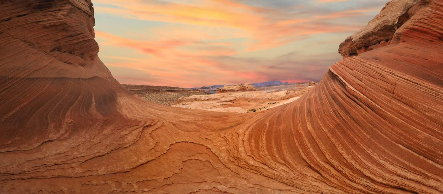 Sunset photo of The New Wave in Page, Arizona.