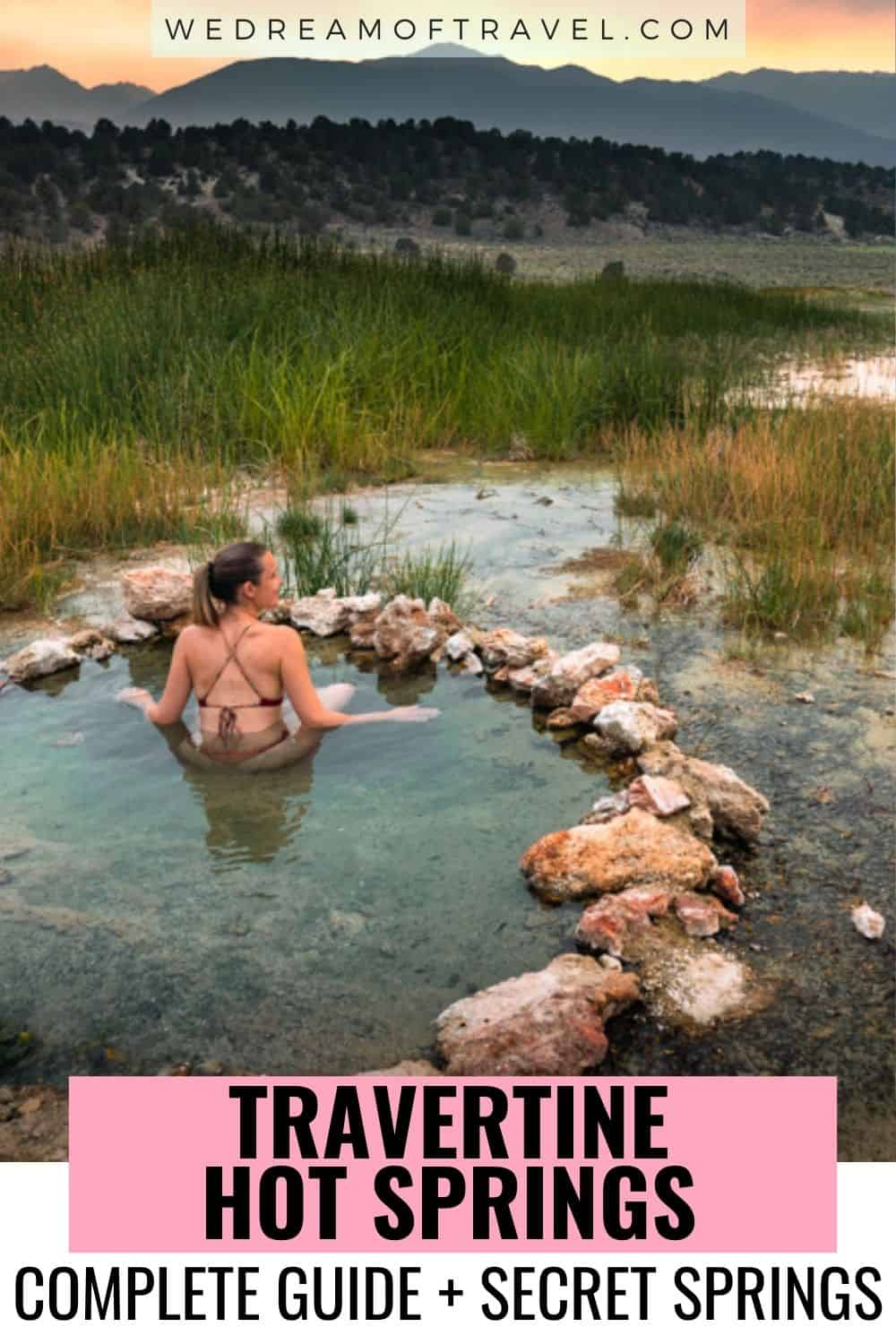 Soak in naturally heated mineral water at Travertine Hot Springs while you take in the views of the Sierra Mountains. Find out everything you need to visit these incredible hot springs, as well as a detailed guide to secret hot springs nearby!