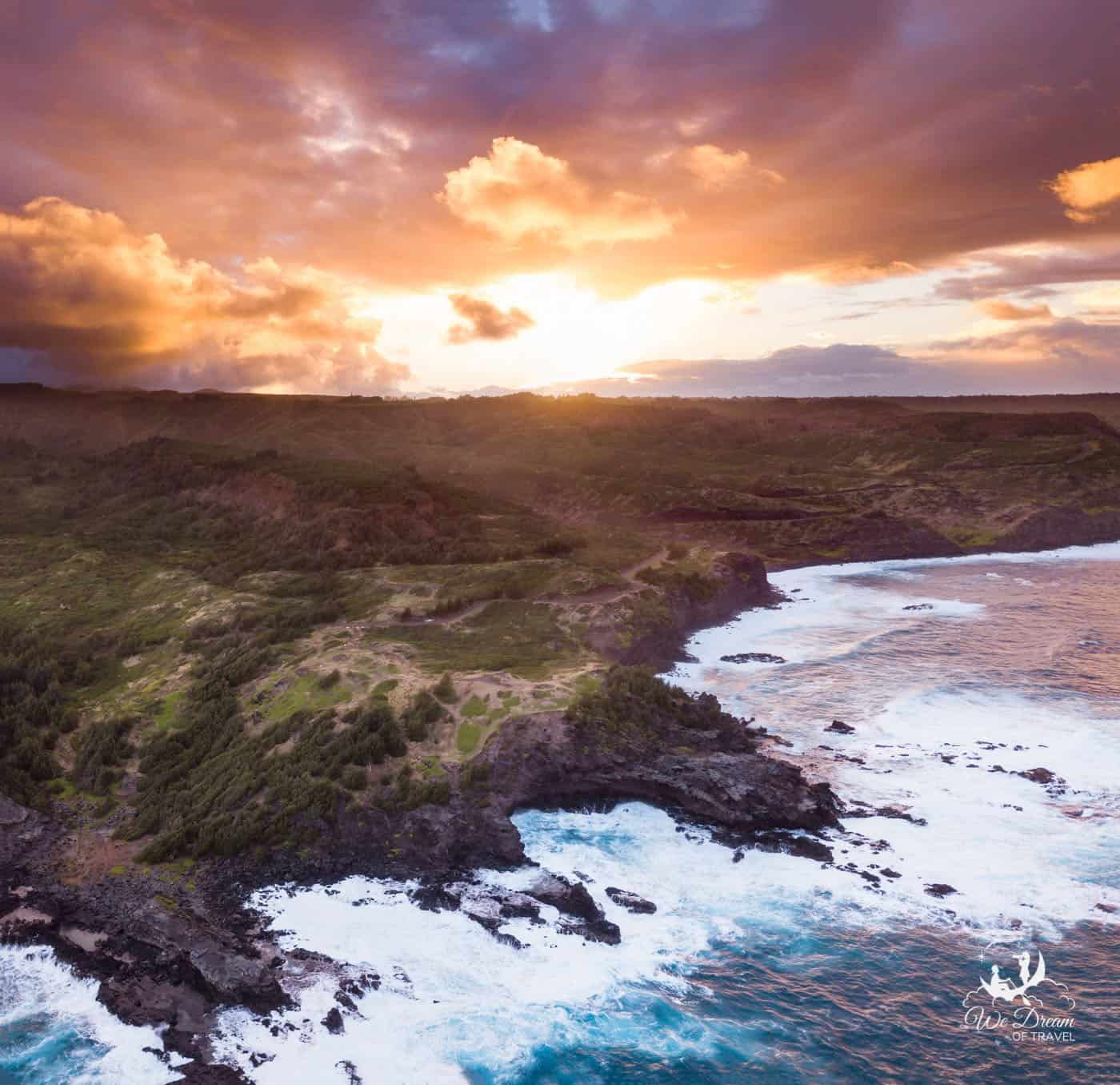 Photographing Maui coastline from the skies at sunset