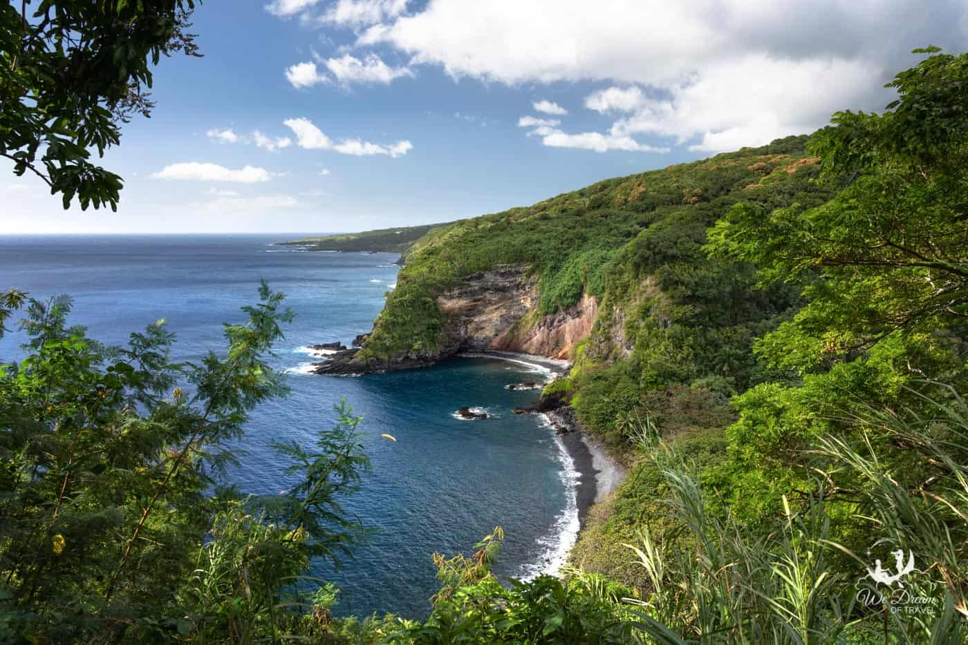 Photographing Maui's black sand beach from above