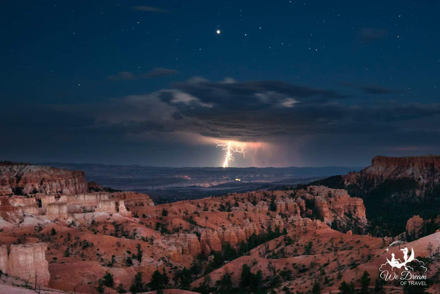 A lightning storm puts on a show, viewed from Bryce Canyon in the direction of Zion NP.
