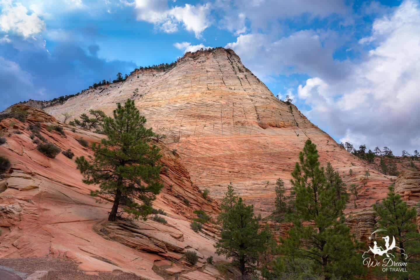 The iconic Checkerboard Mesa is the first natural feature you will discover as you enter Zion National Park from the East Entrance.