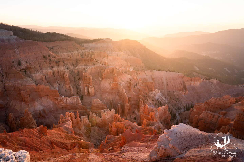Cedar Breaks National Monument at sunset.