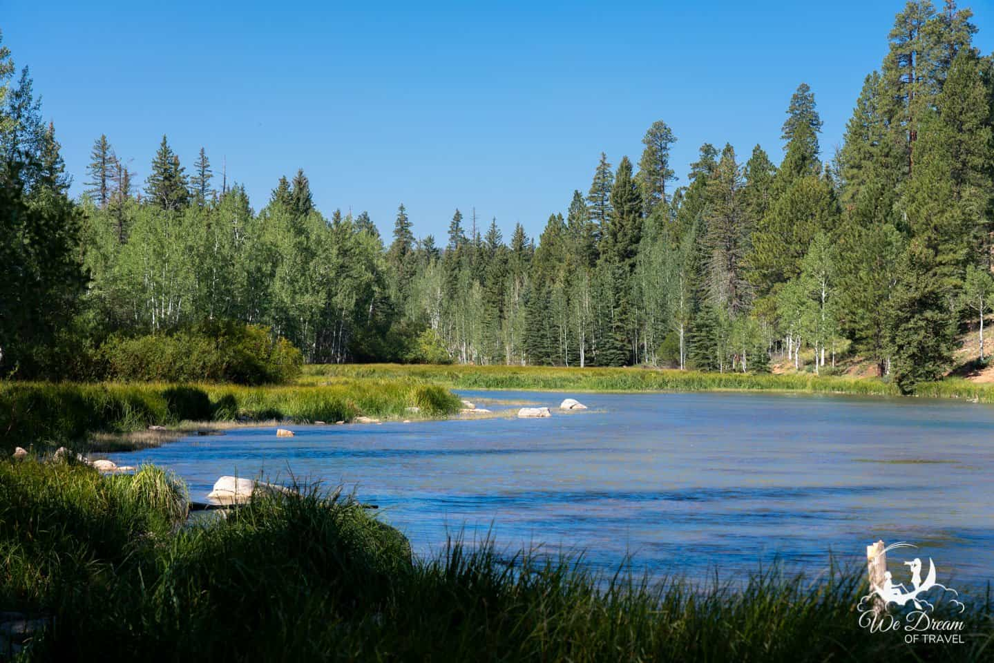 The idyllic Duck Creek Lake is just one of many pristine alpine lakes on the Dixie National Forest detour on a road trip from Zion to Bryce Canyon.