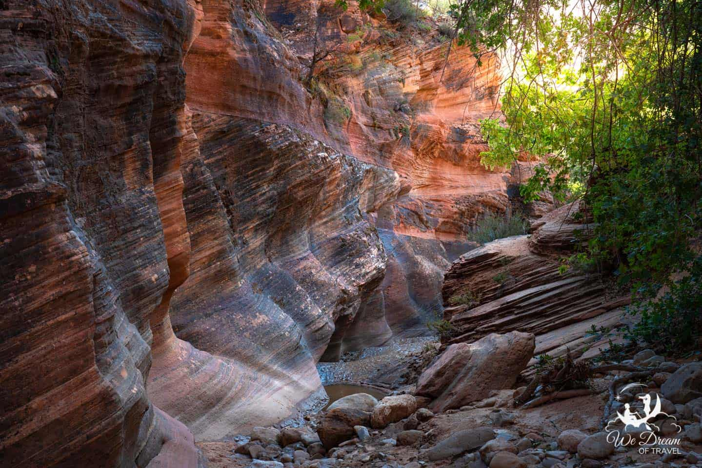 Many Pools is a small, unsigned area missed by most visitors traveling from Bryce Canyon to Zion.