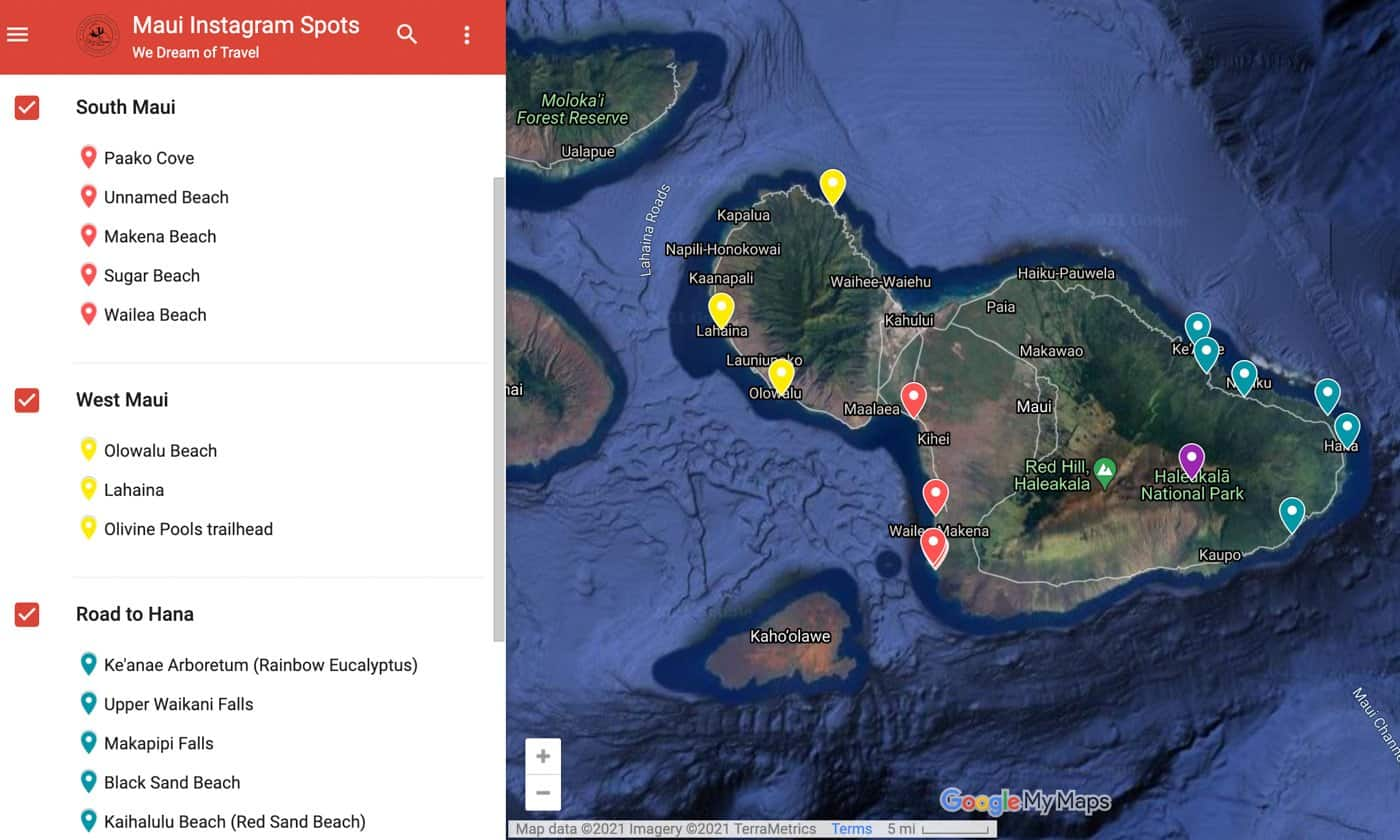 Map of Instagram spots for photographing Maui